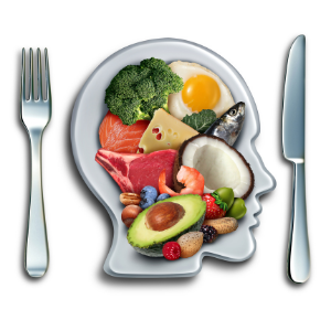 knife and fork with human head full of keto foods avacado broccoli eggs and coconut